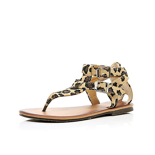 Girls brown leopard print sandals