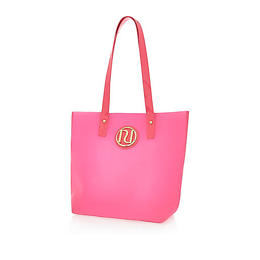 Girls pink jelly shopper bag
