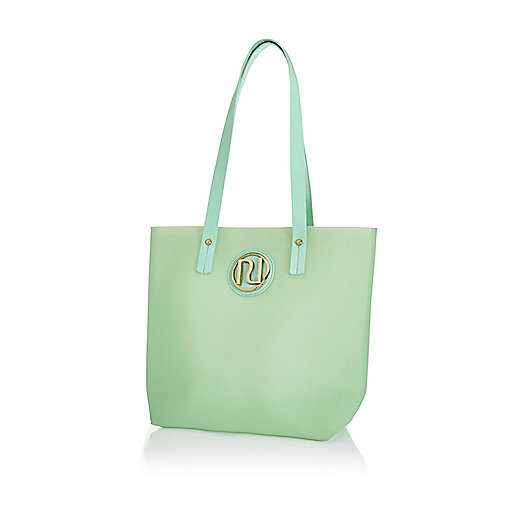 Girls green jelly shopper bag