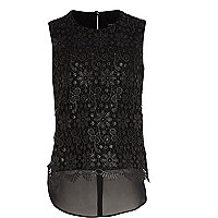 Girls black foil lace shell top