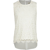 Girls cream foil lace shell top