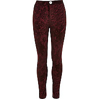 Girls red flocked tube pant