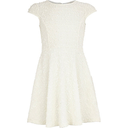Girls cream sequin knitted skater dress