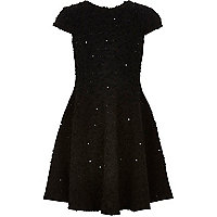 Girls black sequin knitted skater dress