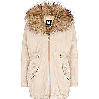 Girls pink faux fur front parka