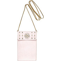 Girls pink embellished phone case