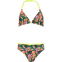 Girls green colour block tropical bikini