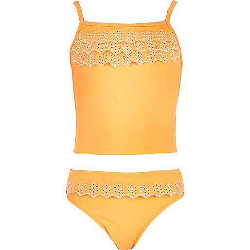 Girls orange ruffle tankini