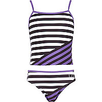Girls purple colour block tankini