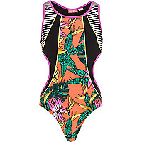 Girls green cut out tropical swimsuit