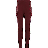 Girls dark red sequin spliced leggings