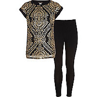 Girls black baroque t-shirt and leggings