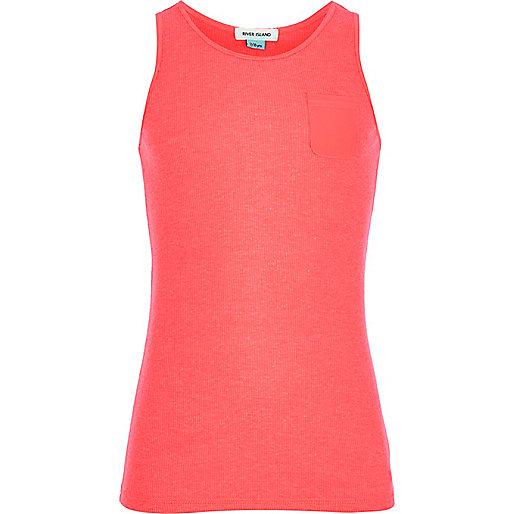 Girls pink ribbed vest