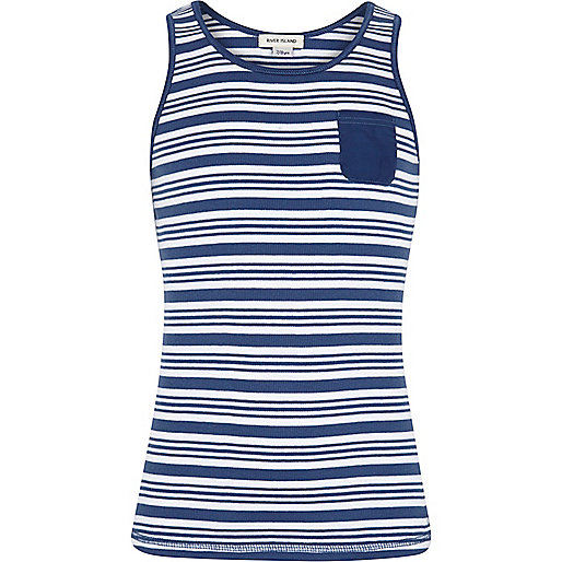 Girls blue stripe ribbed vest