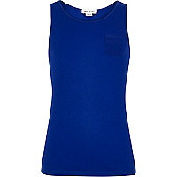 Girls blue ribbed vest