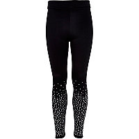Girls black diamante embellished leggings