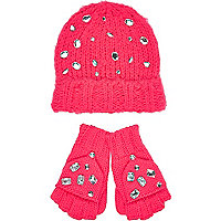 Girls bright pink gem beanie and gloves