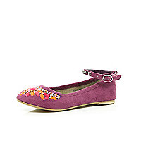Girls purple embellished suede ballerina shoe