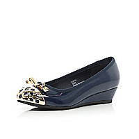 GIrls navy metal toe ballerina wedges