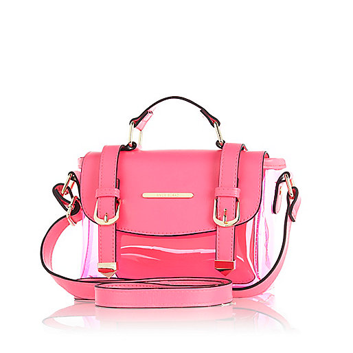 girls pink transparent satchel