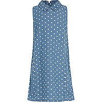 Girls blue denim polka dot shift dress
