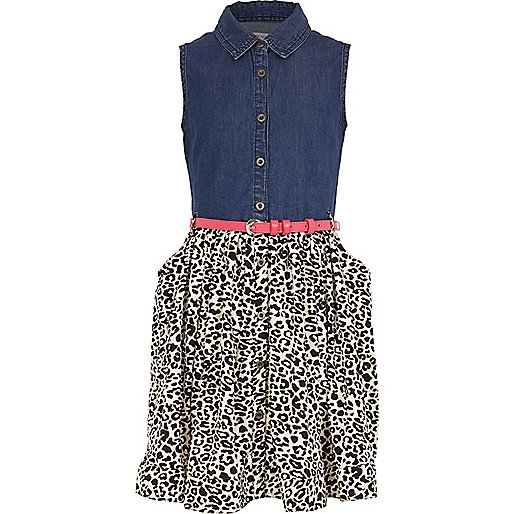 Girls blue denim animal skirt dress