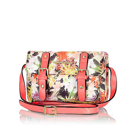 Girls coral floral print satchel