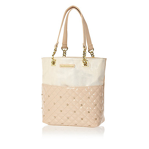 Girls pink quilted shopper bag
