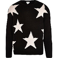Girls black star jumper
