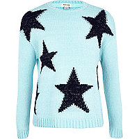 Girls blue star jumper