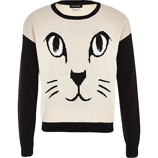 Girls cream sequin cat eye jumper