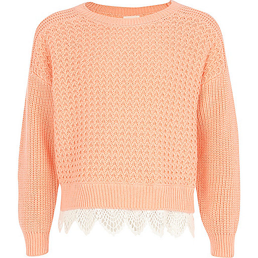 Girls pink knit jumper with a crochet bottom
