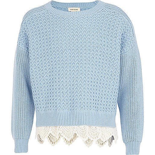 Girls blue knit jumper with crochet bottom