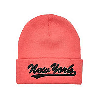 Girls coral New York beanie hat