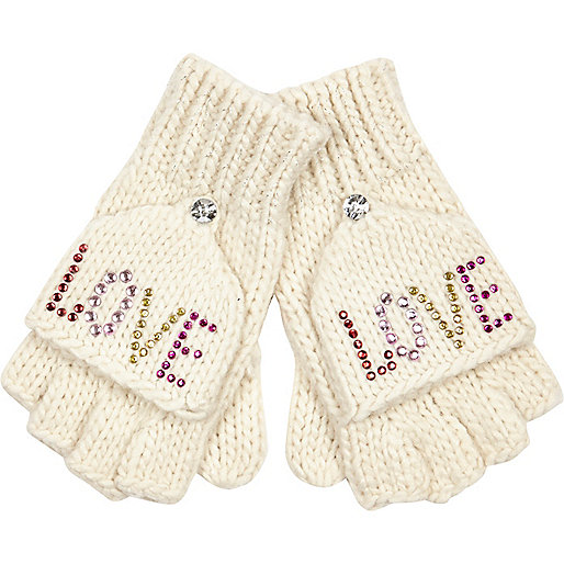 Girls cream embellished love mitten gloves
