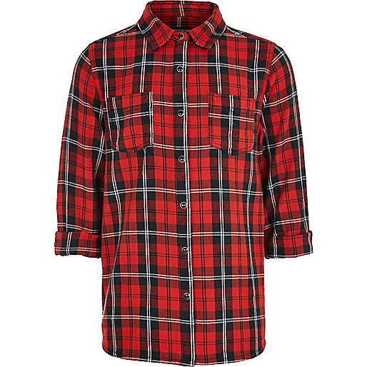 Girls red oversized check shirt