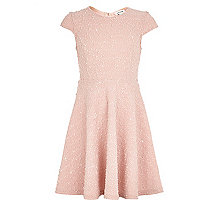 Girls pink sequin knitted skater dress