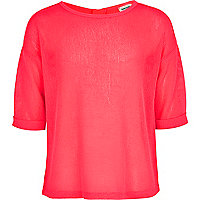 Girls pink rolled sleeve fine knit top