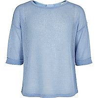 Girls blue rolled sleeve fine knit top