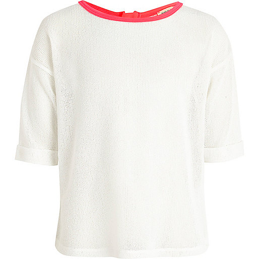 Girls white rolled sleeve fine knit top