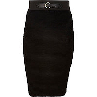 Girls black buckle ribbed long tube skirt