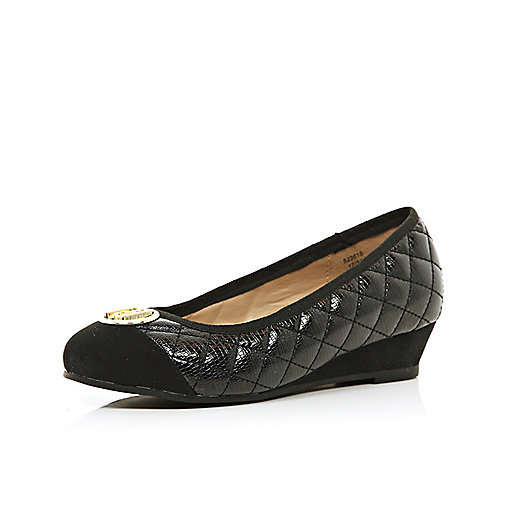 Girls black quilted ballerina wedges