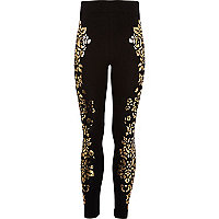 Girls black foil print leggings