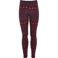 Girls pink reindeer jacquard leggings