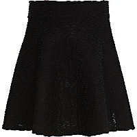 Girls black ripple textured skater skirt