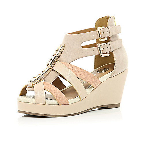 Girls light pink strappy open toe wedges