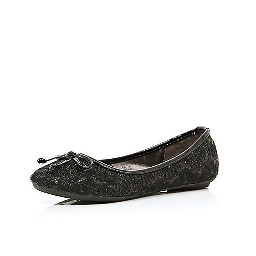 Girls black glitter ballerina shoes