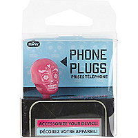 Girls pink sugar skull phone plug