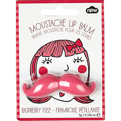 Girls pink moustache lip balm