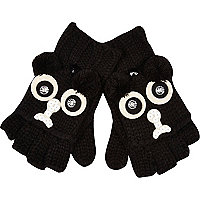 Girls black pug mitten gloves